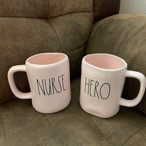 Rae Dunn Pink double sided {Nurse}/{Hero} Mug